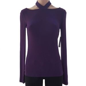 Guess Long Sleeves Knit Top Dark Purple Dayana